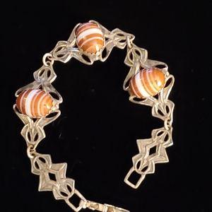 Vintage Nouveau Sterling Banded Agate Bracelet